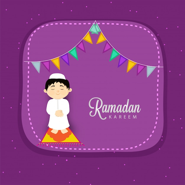 Conceito da celebração do festival de ramadan kareem com rezar muçulmano da criança (namaz de oferecimento). Vetor Premium