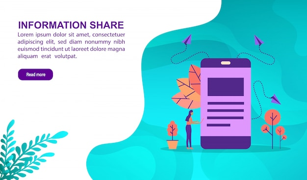 Conceito da ilustração da ação de informação com caráter. modelo de página de destino Vetor Premium