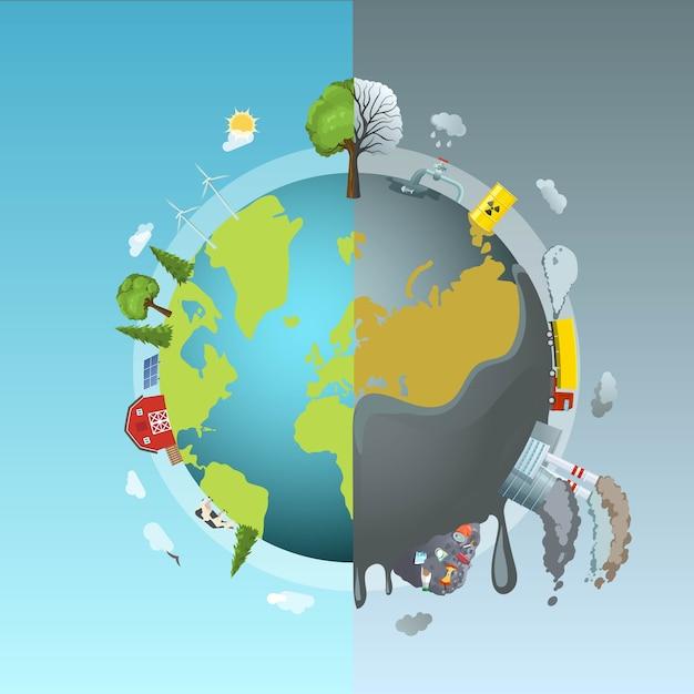 Conceito da rodada de poluição ambiental Vetor grátis