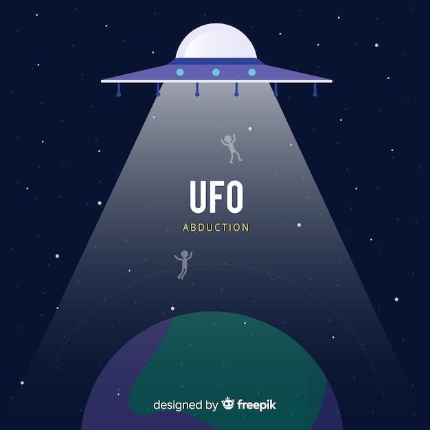 Conceito de abdução de ufo clássico com design plano Vetor grátis