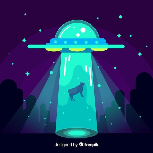 Conceito de abdução ufo com design plano Vetor grátis