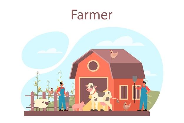 Conceito de agricultor. trabalhador de fazenda no campo, regando plantas e alimentando animais. vista do campo de verão, conceito de agricultura. viver na aldeia. Vetor Premium