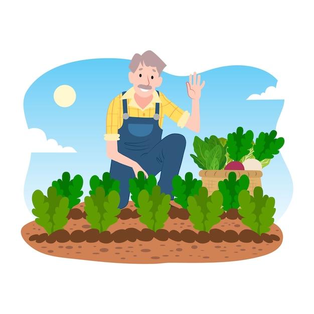 Conceito de agricultura biológica com homem e vegetais Vetor grátis