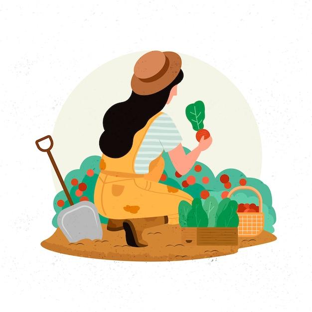 Conceito de agricultura biológica com mulher e culturas Vetor grátis