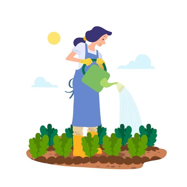 Conceito de agricultura biológica com mulher regando as plantas Vetor grátis