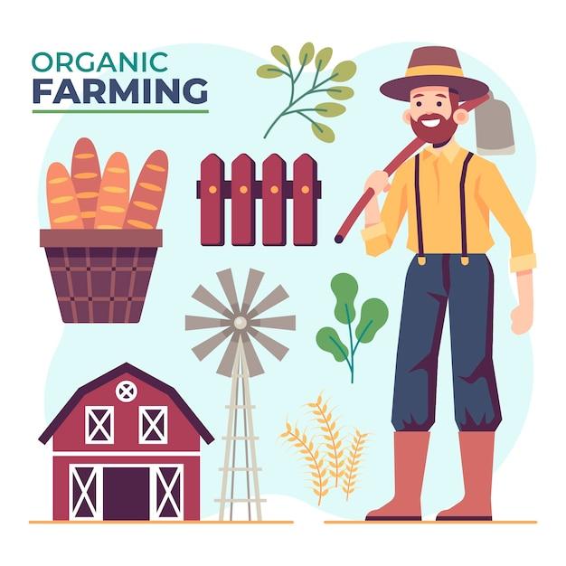 Conceito de agricultura biológica com objetos de homem e fazenda Vetor grátis