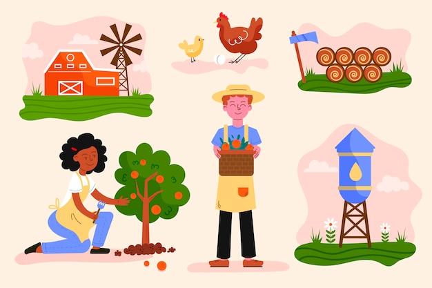 Conceito de agricultura biológica ilustrado Vetor grátis