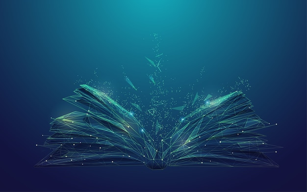 Conceito de alfabetização digital ou e-learning, gráfico de livro low poly com elemento futurista Vetor Premium