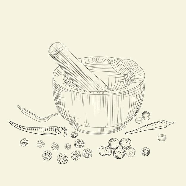 Conceito de almofariz e pilão. conjunto de pimenta. moagem de especiarias e ingredientes alimentares. Vetor Premium