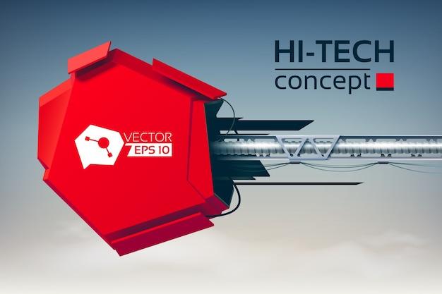 Conceito de alta tecnologia com construção de engenharia 3d Vetor grátis