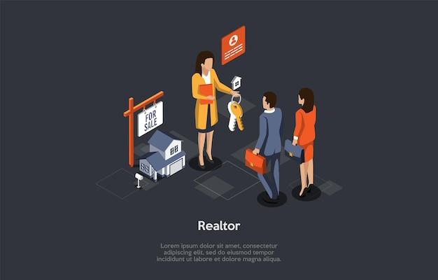 Conceito de aluguel e compra de bens imobiliários. o corretor de imóveis dá as chaves da nova casa para o jovem casal. Vetor Premium