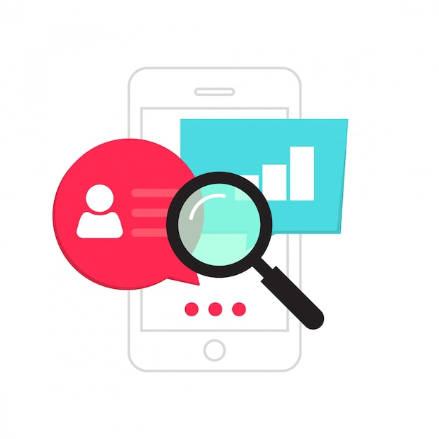 Conceito de análise de dados de celular ou smartphone estatísticas análise vector plana dos desenhos animados Vetor Premium