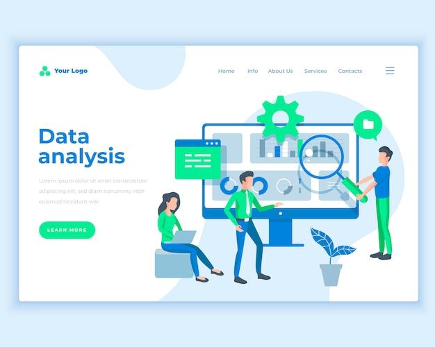 Conceito de análise de dados de modelo de página de aterrissagem com pessoas de escritório. Vetor Premium
