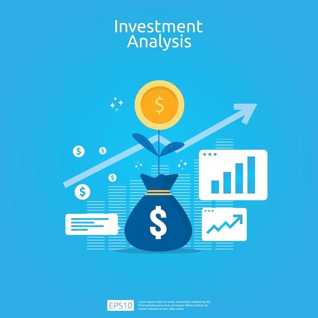 Conceito de análise de investimento financeiro para banner de estratégia de marketing de negócios Vetor Premium