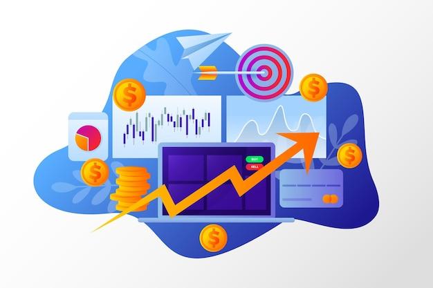 Conceito de análise do mercado de ações Vetor Premium