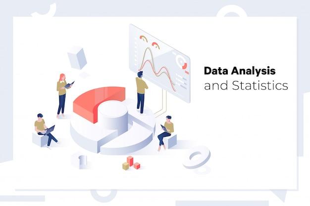 Conceito de análise e estatística de dados Vetor Premium