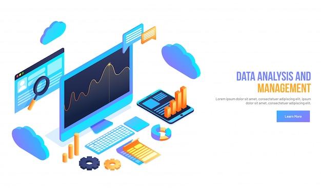 Conceito de análise e gestão de dados. Vetor Premium