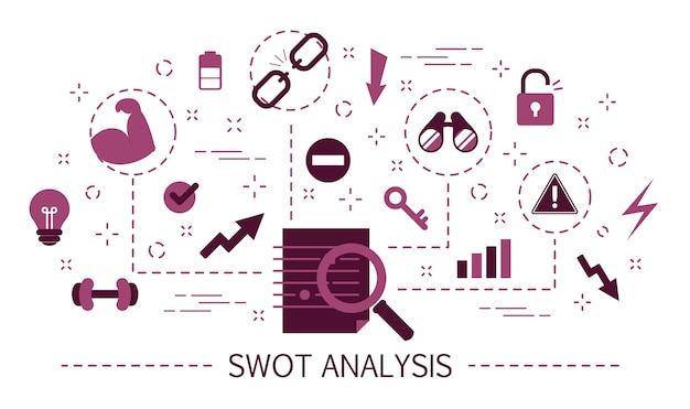 Conceito de análise swot. pontos fortes, pontos fracos e ameaças Vetor Premium