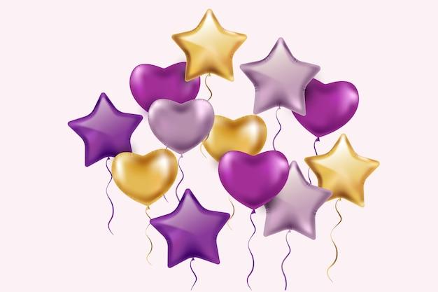 Conceito de aniversário balões realista Vetor Premium