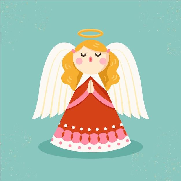 Conceito de anjo de natal em design plano Vetor grátis