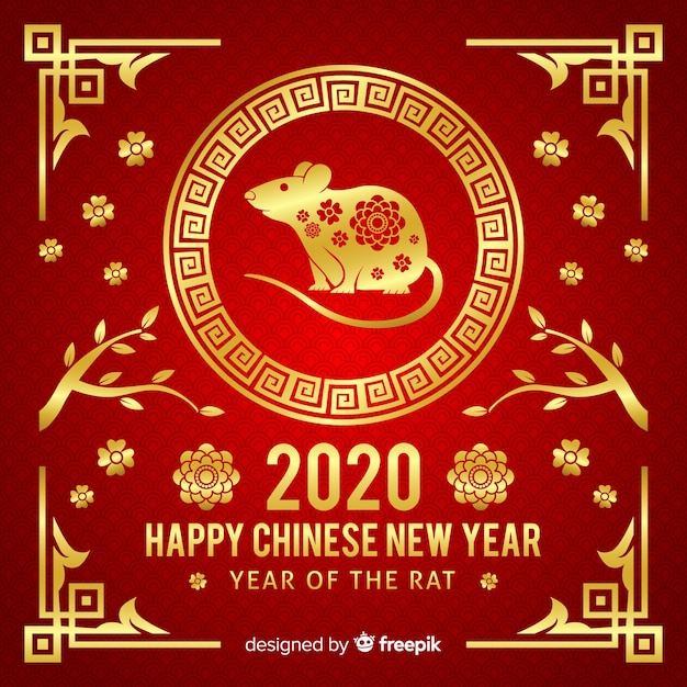 Conceito de ano novo chinês dourado Vetor grátis