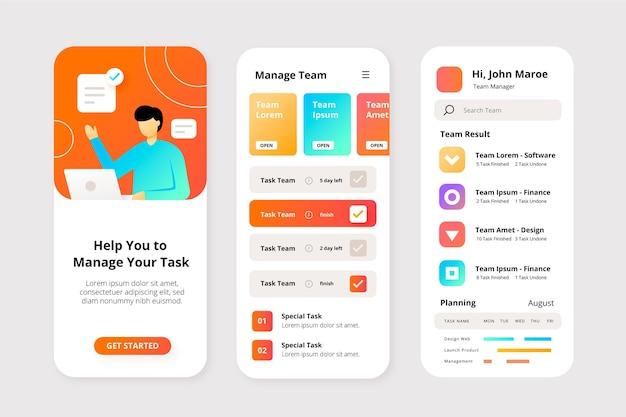 Conceito de aplicativo de gerenciamento de tarefas Vetor Premium