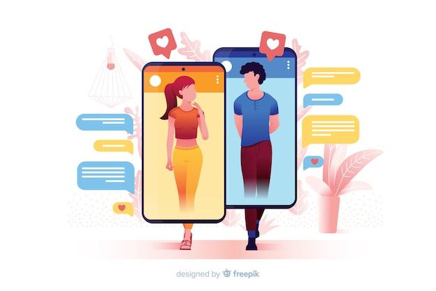 Conceito de aplicativo de namoro ilustrado Vetor grátis