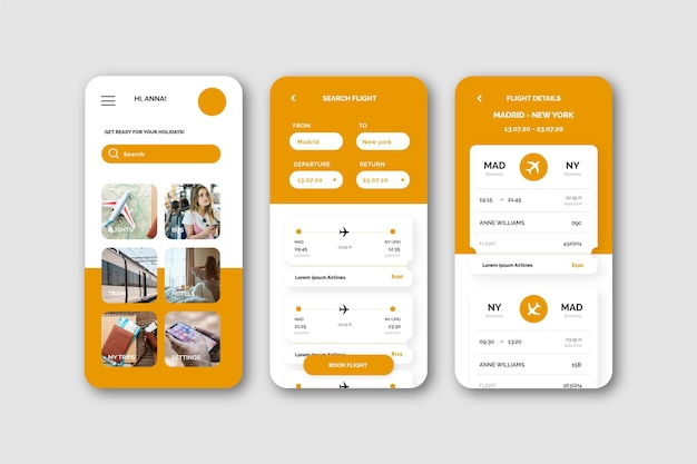 Conceito de aplicativo de reserva de viagens Vetor grátis