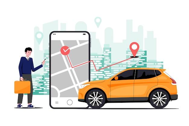 Conceito de aplicativo de táxi Vetor Premium