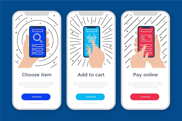 Conceito de aplicativo integrado para compra Vetor grátis