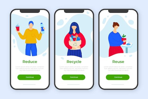 Conceito de aplicativo integrado para reciclagem Vetor grátis