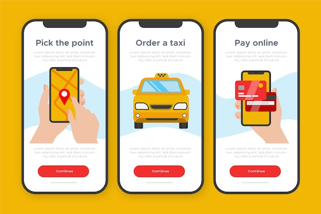 Conceito de aplicativo integrado para serviço de táxi Vetor grátis