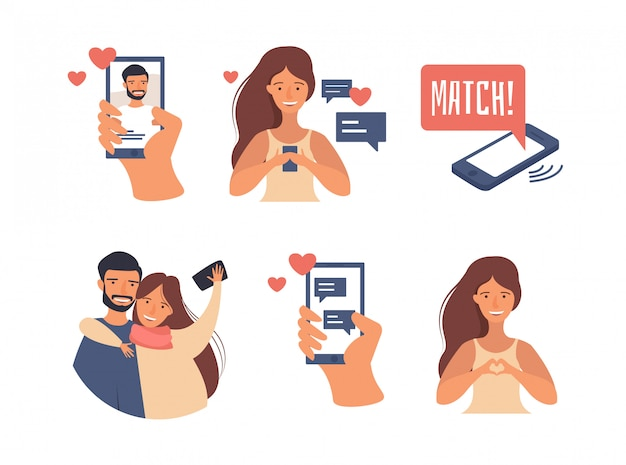 Conceito de aplicativos de namoro. ilustração sobre usuários de aplicativos de namoro online com perfis abstratos. mulher usando aplicativo móvel para namoro na internet Vetor Premium