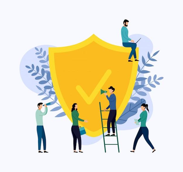 Conceito de apólice de seguro, segurança de dados, ilustração de negócios Vetor Premium