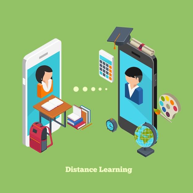 Conceito de aprendizagem online à distância. avatares de alunos em telas de smartphones Vetor grátis