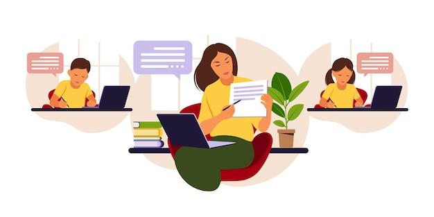 Conceito de aprendizagem online. aula online. professora no quadro-negro, vídeo aula. Vetor Premium