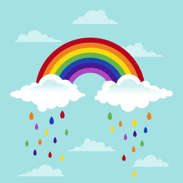 Conceito de arco-íris e nuvens plana Vetor grátis