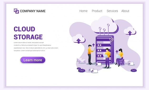 Conceito de armazenamento em nuvem com pessoas que trabalham no servidor frontal Vetor Premium