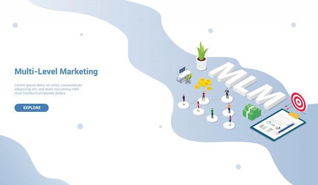 Conceito de árvore binária de conceito de negócio marketing multinível para o modelo de site ou aterrissagem isométrica Vetor Premium