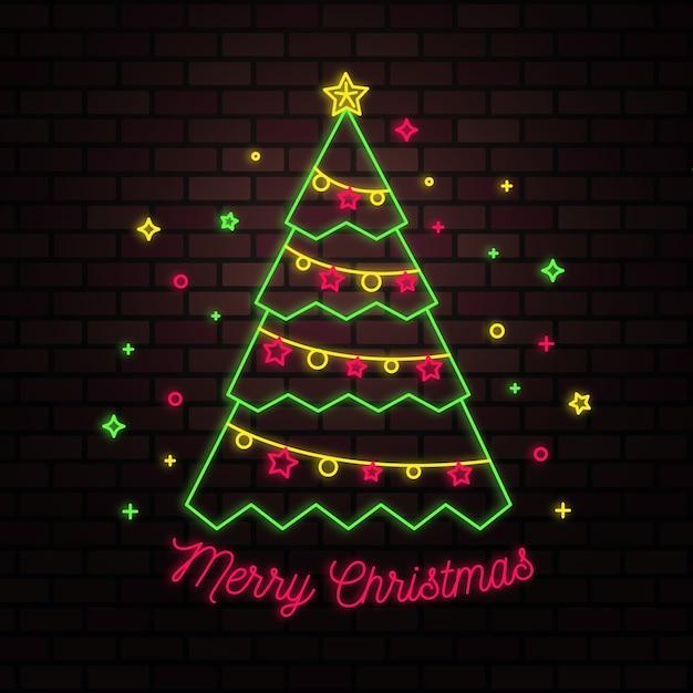 Conceito de árvore de natal com design de néon Vetor grátis