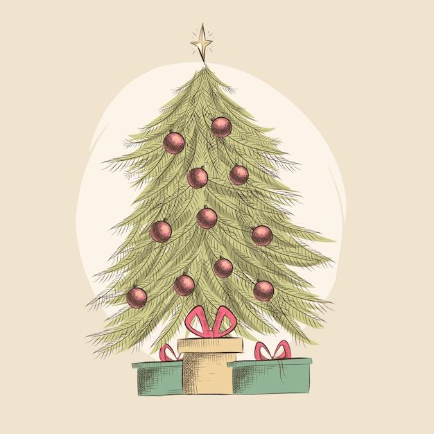 Conceito de árvore de natal com design vintage Vetor grátis
