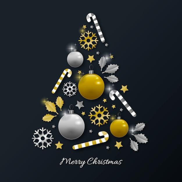 Conceito de árvore de natal feito de decoração dourada realista Vetor grátis