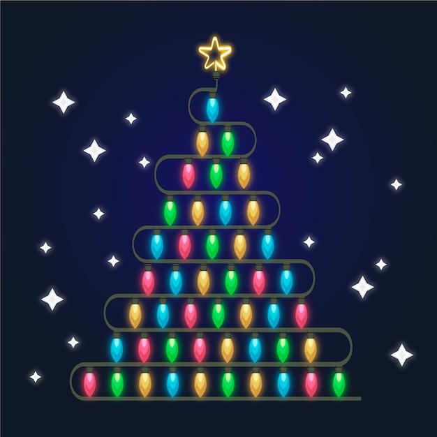 Conceito de árvore de natal feito de lâmpadas Vetor grátis