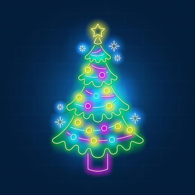 Conceito de árvore de natal neon Vetor grátis