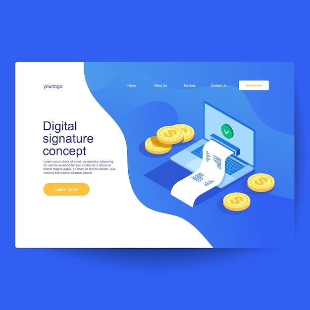 Conceito de assinatura digital, documento verificado em estilo isométrico. pode ser usado para banner web, infográficos, imagem de herói Vetor Premium