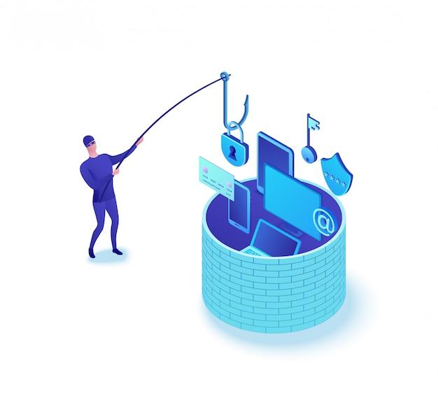 Conceito de ataque de phishing, dados roubo 3d ilustração em vetor isométrico, informações de pesca de homem Vetor Premium