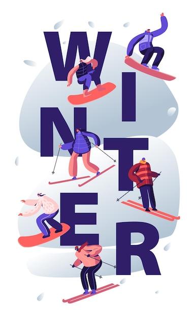 Conceito de atividade de esportes de inverno. ilustração plana dos desenhos animados Vetor Premium
