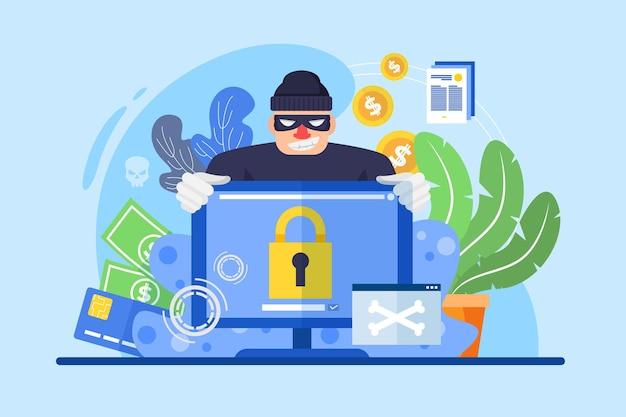 Conceito de atividade hacker com homem e computador Vetor grátis