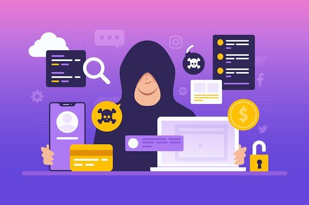 Conceito de atividade hacker com homem e dispositivos Vetor grátis