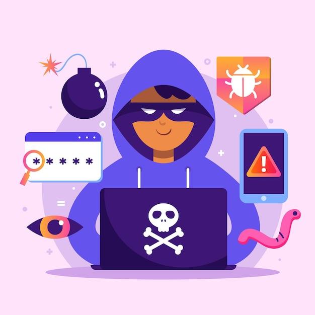 Conceito de atividade hacker Vetor grátis